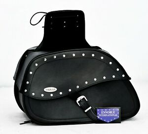 MOTORBIKE SADDLE BAGS SPLIT LEATHER, BLACK WITH STUDS  NEW, PL2664