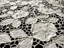 """Roses on Trellis Antique Madeira Embroidery Linen Tablecloth 52x140"""""""