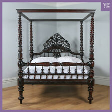 "Antique 5ft 7"" Victorian Anglo Indian Colonial Raj King Size Four Poster Bed"