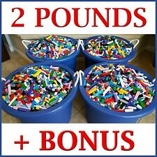 2 POUNDS Bulk Bricks blocks Parts +2 BONUS MINI-FIGURES compatible with LEGO