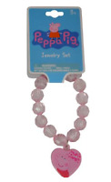 Peppa Pig Girls Faceted Beaded Bracelet with Pink Plastic Charm Cute! Pink
