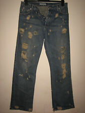 RR12) MENS BLUE  DISTRESSED RED HERRING STRAIGHT FIT JEANS WAIST 32 LEG 32