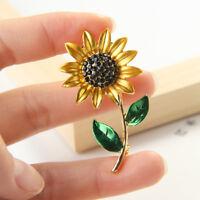 Elegant Alloy Women Rhinestone Sunflower Enamel Brooch Lapel Pin Clothes Jewelry