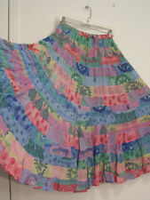 15 Tiered Multi Color Multi Floral Print 100% Cotton Peasant Broomstick Skirt L
