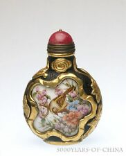 "Old Handmade Carved Overlay Enamel Glass Snuff Bottle ""Bird & Flowers"""
