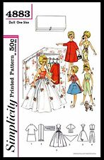 "Barbie TAMMY 12"" Vintage Fashion DOLL Fabric Sewing Pattern Simplicity #4883 60s"