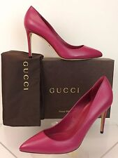 NIB GUCCI PINK BEGONIA LEATHER GLORIA CLASSIC HEEL PUMPS 38.5 8.5 # 338723 ITALY