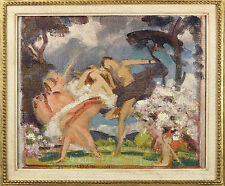 Charles Sims | NYMPHS Dancing in Spring | art DECO oil sketch | fluid movement