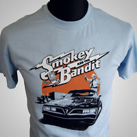 Smokey and The Bandit Movie Themed Retro T Shirt Burt Trans Am 70's Blue