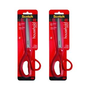 Scotch 1408 Scissors Home and Office 8 in Right Left Hand Red Stainless, 2-Pack