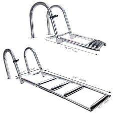 4 step Premium Stainless Folding Rear Entry Pontoon Boat Ladder/Extra Wide Step