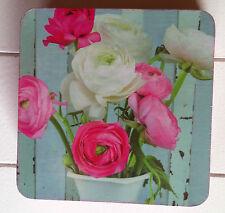 Glas-Untersetzer Tassen-Untersetzer 6er Kork  Shabby Chic  Blumen