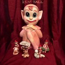 Knee Hugging Elf Pixie Chalk Ware Piggy Bank Vtg 1930s