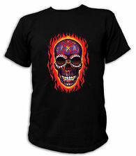T-Shirt Classic SUGAR SKULL FLAMES Rockabilly Gothic Biker USA Vintage 18380