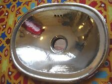 Silver colour very small Moroccan hand hammered plain oval sink wash basin