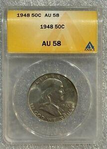 1948 Silver Franklin Half Dollar ~~ ANACS AU58  (071) ~~ Nice Toner ~~