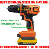 1x Dewalt 20V XR Battery Convert To Black + Decker 20V MAX Li-Ion System Adapter