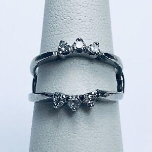Vintage 14K Solid White Gold Diamond Guard Enhancer Wrap Band Ring Size 5