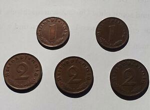1936 3.Reich Lot 1 und 2 Reichspfennig J 361 A (2x), J 362 D (2x), J 362 D