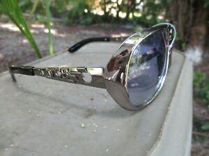 Elvis Presley Sunglasses, Chrome Metal Arms, Plastic Frame and  Blue Lens