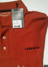 NEW MENS CALLAWAY EMBROIDERED polo GOLF SHIRT REDDISH RUST COLOR  LARGE NWT  L