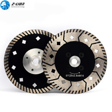 2Pcs Diamond Dual Saw Blades 5 Inch Cutting Wheel with Flange for Granite Marble