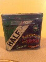 Vintage Antique Half And Buckingham Bright Cut Plug Smoking Tobacco Tin Can
