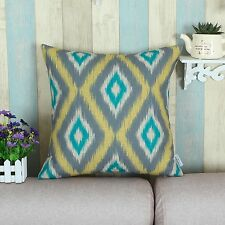 Cushion Covers Pillows Case Ikat Diamonds Gray Yellow Teal Home Decor 45 X 45