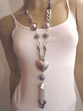 Modekette lang Damen Hals Kette Bettelkette Modeschmuck Silber Lila Herz B045