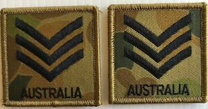 DPCU Army Australia Rank SGT Patches X2 with Hook Backing