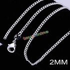 """925 Sterling Silver Plated 2MM Curb Chains Necklace for Jewelry Pendant 16""""-30"""""""