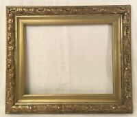 "Antique / Vintage Gold Gilt Wide Frame with Gesso Detail 16x20"" window"