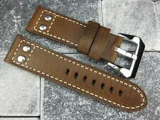 24mm Aviation Dark Brown Military Button Leather Strap Rivet Watch Band PANERAI