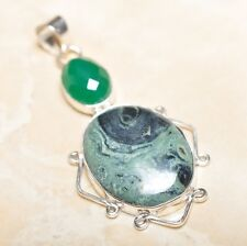 "Handmade Kambaba Jasper Gemstone 925 Sterling Silver Pendant 2.5"" #P14513"