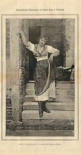 Stampa antica RAGAZZA DI VENEZIA 1887 Old antique print Venice