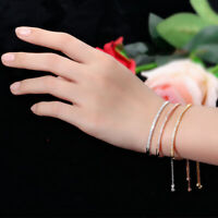CWWZircons Adjustable CZ Rose Gold Bracelet Bangle for Women Fashion Jewelry