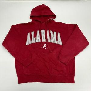 Alabama Drawstring Hoodie Men's L Long Sleeve Red Cotton Blend NCAA