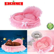Pink Lace Princess Pet Puppy Soft Kennel Nest Cat Dog Warm Basket Bed Cushion
