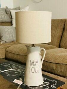 NEW Rae Dunn 2021 FARM HOUSE Ceramic Table Lamp Light White Pitcher LL
