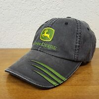 John Deere Gray Faded Look Curved Bill Adjustable Cap Hat w/ Embroidered Patch
