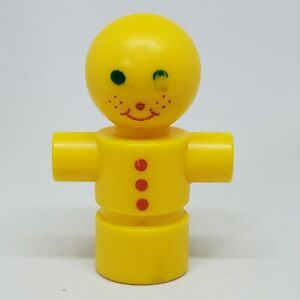 """Vintage Tinkertoy Replacement Person Character Guy Man 2.25"""" Yellow Tinker Toy"""
