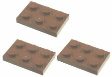 Missing Lego Brick 3021 RedBrown x 3 Plate 3 x 2 with Hole