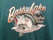 Bass Lake Anglers Classic mines bigger than yours 2XL t shirt greenish