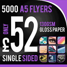 5000 A5 Full Colour 130gm Gloss Flyers/Leaflets ~ Single Sided