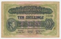 East Africa Banknote 10 Shilling 1941 P29a F King George VI Currency Note Lion