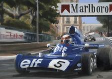 Art card 1973 Monaco GP winner Tyrrell 006 #5 Jackie Stewart by Toon Nagtegaal