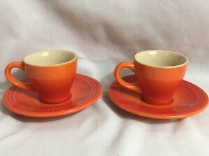 Le Creuset Stoneware espresso cup mug and saucers Volcanic Flame Orange set of 2