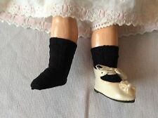 Antique pattern socks black color for  antique French German doll