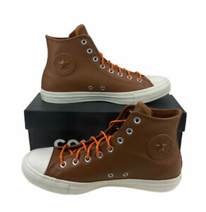 NEW Converse Chuck Taylor All Star Hi Leather Brown Egret Mens Shoes Sneakers