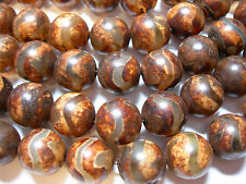 "Awesome Tibetan Agate beads 12mm 15"" strand - browns"